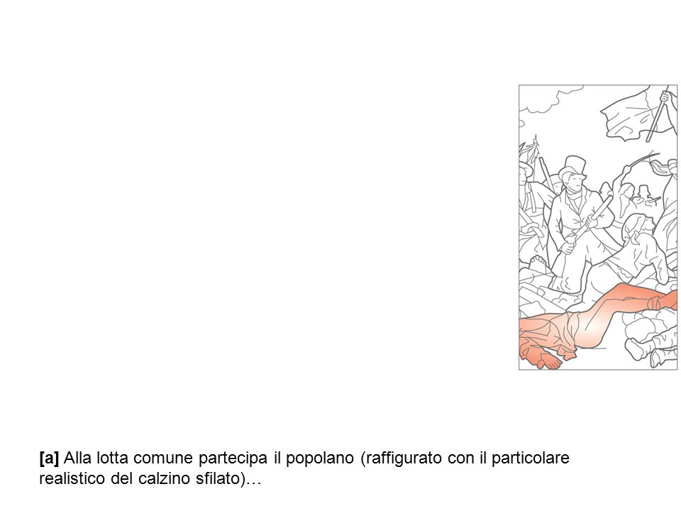 [a] Alla lotta comune partecipa il popolano (raffigurato con il particolare realistico del calzino sfilato)…